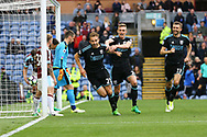 Craig Dawson of West Bromwich Albion (c) celebrates with his teammates after scoring his teams 2nd goal to make it 1-2. Premier League match, Burnley v West Bromwich Albion at Turf Moor in Burnley , Lancs on Saturday 6th May 2017.<br /> pic by Chris Stading, Andrew Orchard sports photography.