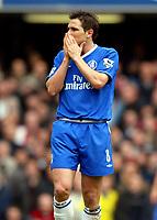 Photo: Scott Heavey, Digitalsport.<br /> Chelsea v Arsenal. FA Barclaycard Premiership. 21/02/2004.<br /> Frank Lampard cant believe the scoreline