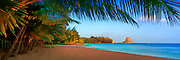 Art panorama of the beach and Chinaman's Hat island on the windward coast of Oahu, Hawaii