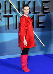 Kathryn Newton attending the A Wrinkle in Time European Premiere held at the BFI IMAX in Waterloo, London. Photo credit should read: Doug Peters/EMPICS Entertainment
