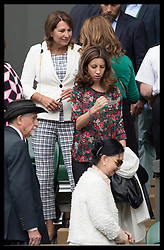 July 14, 2017 - London, London, United Kingdom - Image licensed to i-Images Picture Agency. 14/07/2017. London, United Kingdom. Carole Middleton talks to Mirka Federer  on Men's Semi-final day at the Wimbledon Tennis Championships in London.  Picture by Stephen Lock / i-Images (Credit Image: © Stephen Lock/i-Images via ZUMA Press)