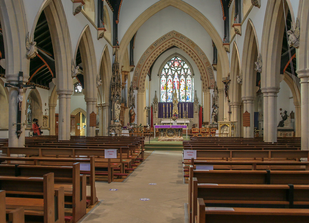 28th February, Cheltenham, England. A general view (GV) of St Gregory's Catholic Church in Cheltenham during the third national lockdown owing to the Coronavirus Pandemic.