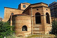 The 8th century Greek cross domed Basilica of The Hagia Sophia,  , orHoly Wisdom. A Palaeochristian and Byzantine Monuments of Thessaloniki, Greece. A UNESCO World Heritage Site.