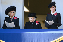 November 11, 2018 - London, London, UK - London, UK.  The Duchess of Cornwall, Queen Elizabeth II, The Duchess of Cambridge attend a Remembrance Day Ceremony at the Cenotaph war memorial in London, United Kingdom, on November 11, 2018.  Thousands of people honour the war dead by gathering at the iconic memorial to lay wreaths and observe two minutes silence and marks the 100th anniversary of Armistice Day. (Credit Image: © Ray Tang/London News Pictures via ZUMA Wire)