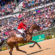 Lynn Symansky (USA) and Donner during the show jumping phase of the 2018 Land Rover Kentucky Three-Day Event in Lexington, Kentucky