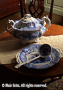 Willow ware on Chippened tea table, Hiester Room, Historic Society, Reading, Berks Co., PA