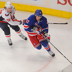 May 12, 2012: New York Rangers center Artem Anisimov (42) skates past Washington Capitals left wing Alexander Semin (28) during first period action in game 7 of the NHL Eastern Conference Semi-finals between the Washington Capitals and New York Rangers at Madison Square Garden in New York, N.Y.