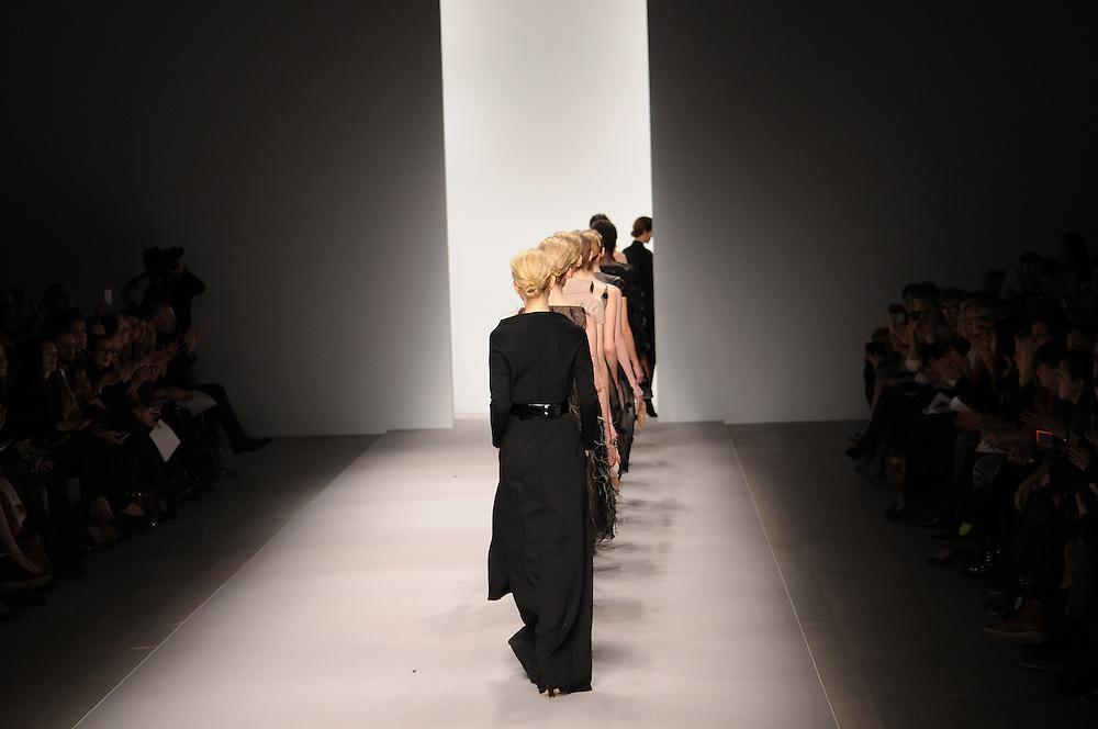 Models walk the runway for Jasper Conran Spring 2012 fashion show during London Fashion Week, London, UK. 18/02/2012 Anne-Marie Michel/CatchlightMedia