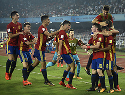 October 28, 2017 - Kolkata, West Bengal, India - Spain players celebrates Spain goal the FIFA U 17 World Cup India 2017 Final match in Kolkata. Player of England and Spain in action during the FIFA U 17 World Cup India 2017 Final match on October 28, 2017 in Kolkata. England wins FIFA U 17 World Cup 5 - 2 goals against Spain. (Credit Image: © Saikat Paul/Pacific Press via ZUMA Wire)