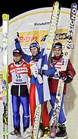 GEPA-2711044029 - KUUSAMO,FINNLAND,27.NOV.04 - SKI NORDISCH - FIS Weltcup Skispringen. Bild zeigt Alexander Herr (GER), Janne Ahonen (FIN), Martin Hoellwarth (AUT)<br />Foto: GEPA pictures/ Thomas Karner