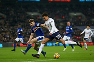 Dele Alli of Tottenham Hotspur Holds off Jonjoe Kenny of Everton.<br /> Premier league match, Tottenham Hotspur v Everton at Wembley Stadium in London on Saturday 13th January 2018.<br /> pic by Kieran Clarke, Andrew Orchard sports photography.