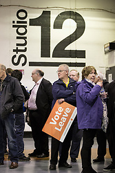 """© Licensed to London News Pictures . 15/04/2016 . Manchester , UK . People in the queue waiting for Boris Johnson to speak at a """" Vote Leave """" rally at Old Granada Studios , in Manchester . Photo credit: Joel Goodman/LNP"""
