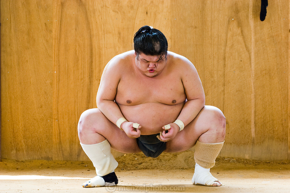 A wrestler with the Professional Sumo Team (Musahigawa Beya) during practice before a tournament in Nagoya, Japan.