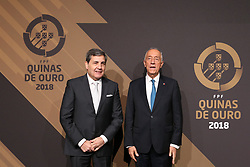 March 19, 2018 - Lisbon, Lisbon, Portugal - Portugal's football federation President Fernando Gomes (L) and Portuguese President Marcelo Rebelo de Sousa  (R) poses on arrival at 'Quinas de Ouro' 2018 ceremony held and the Pavilhao Carlos Lopes in Lisbon, on March 19, 2018. (Credit Image: © Dpi/NurPhoto via ZUMA Press)