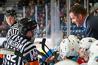 KELOWNA, CANADA - FEBRUARY 15:  Referee Jeff Ingram stands at the bench and speaks to head coach Adam Foote of the Kelowna Rockets against the Everett Silvertips on February 15, 2019 at Prospera Place in Kelowna, British Columbia, Canada.  (Photo by Marissa Baecker/Shoot the Breeze)