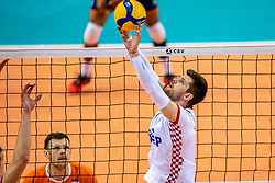 Tsimafei Zhukouski of Croatia in action during the CEV Eurovolley 2021 Qualifiers between Croatia and Netherlands at Topsporthall Omnisport on May 16, 2021 in Apeldoorn, Netherlands