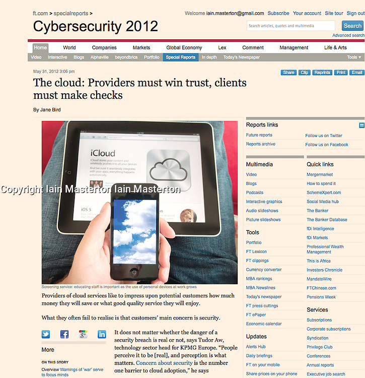 Financial Times; Detail of iCloud on iPhone