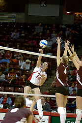 18 November 2005: Erin O'Connor (6) readies to dig a strike by Laura Doornbos that flies straight past Sabrina Apker. Missouri State Bears clawed their way past the Illinois State Redbirds in 4 games to take the match played at Redbird Arena in Normal Illinois.