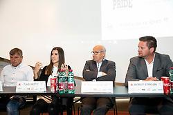 Damir Vrbanic, Tjasa Ristic, Bogdan Gabrovec and Borut Strojin during press conference of Karate Federation of Slovenia, on April 4, 2019, in OKS centre, Ljubljana, Slovenia. Photo by Vid Ponikvar / Sportida