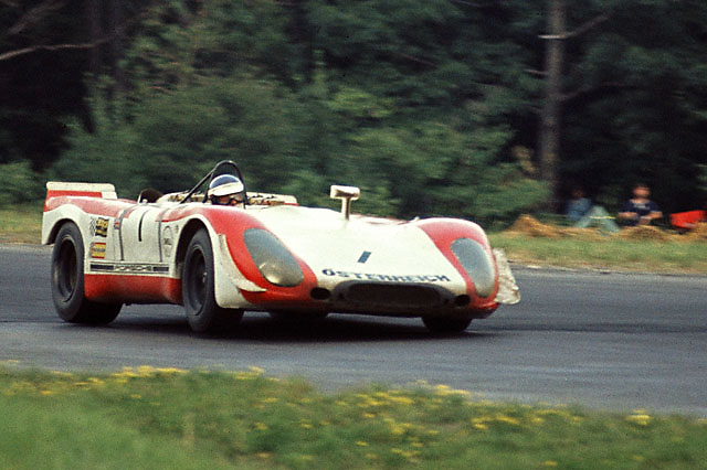 Brian Redman, who co-drove with Jo Siffert, at wheel of winning Porsche 908 during 1969 6-hours race at Watkins Glen