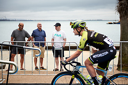 Locals watch riders arrive for sign on at the 2020 Cadel Evans Great Ocean Road Race - Deakin University Women's Race, a 121 km road race in Geelong, Australia on February 1, 2020. Photo by Sean Robinson/velofocus.com