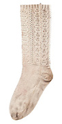 A woollen sock or caltuni often worn with peasant sandals (opinci) by women in remote villages in rural Maramures. Traditionally subsistence farmers In Maramures raise their own sheep to provide wool for knitting and weaving clothing.
