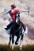 Kirghizstan, province de Naryn, peinture au musée de Koshoi Korgon, ancienne citadelle en ruine // Kyrgyzstan, Naryn province, painting in the museum of Koshoi Korgon, ancient citadel