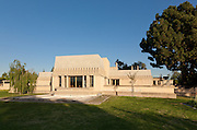 """The back of the house (west) with the living room in the center section (extended like a """"T"""") and the music room to the left and library to the right. The Aline Barnsdall Hollyhock House, East Hollywood, Los Angeles, California USA designed by architect Frank Lloyd Wright 1919-1921"""