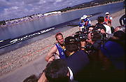 2000_Sydney_Olympic-Regatta  .GBR M4- Gold Medal winner  Steve Redgrave, talks to the gathered media after winning his fifth Olympic Gold Medal. Rowing Course: Penrith Lakes, NSW 2000 Olympic Regatta Sydney International Regatta Centre (SIRC) 2000 Olympic Rowing Regatta00085138.tif