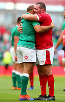 Rugby Union - 2019 pre-Rugby World Cup warm-up (Guinness Summer Series) - Ireland vs. Wales<br /> <br /> Rory Best (c) (Ireland) shares a moment with Ken Owens (Wales) at The Aviva Stadium.<br /> <br /> COLORSPORT/KEN SUTTON