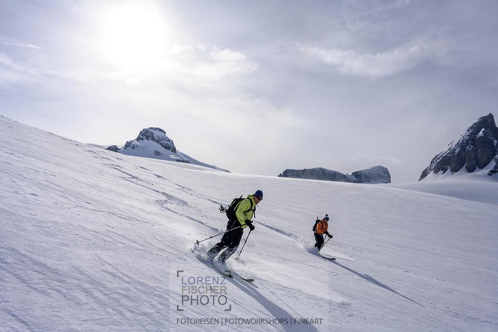 Skiing down the Glatt firn on a ski tour from the Meiental on mount Zwächten with a descent to the Erstfeld valley, Uri, Switzerland<br /> <br /> Skitour vom Meiental auf den Zwächten mit Abfahrt ins Erstfelder Tal, Uri, Schweiz