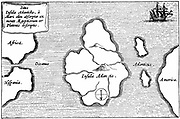 Legendary island of Atlantis described by Plato and said to lie just beyond the Pillars of Hercules (Gibraltar and Mount Hacho). Engraving after description by Athanasius Kircher (1602-1680) German Jesuit priest and scientist.