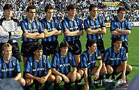 Fotball , lagbilde Inter Mailand 1991: H.R.v.l.: Torwart Walter Zenga, Giuseppe Bergomi, Nicola Berti, Serena, Riccardo Ferri, Lothar Matthäus, v.R.v.l.: Andreas Brehme, Diaz, Bianchi; Mannschaftsfoto, Mannschaftsbild, Guiseppe Seria A 1990/1991, 1. Italienische Liga, Meisterschaft, Internazionale Mailand, <br /> Norway<br />  only