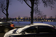 A parked car with snow and ice across its bodywork on a winter's afternoon in south London during the bad weather covering every part of the UK and known as the 'Beast from the East' because Siberian winds and very low temperatures have blown across western Europe from Russia, on 1st March 2018, in Lambeth, London, England.