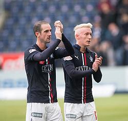 Falkirk's Mark Kerr an dFalkirk's Craig Sibbald at the end. Falkirk 2 v 1 Dunfermline, Scottish Championship game played 15/10/2016, at The Falkirk Stadium.