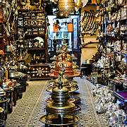 A shop inside Istanbul's historic Grand Bazaar selling an assortment of brass and lighting goods