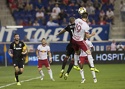 September 27, 2017 - Harrison, New Jersey, United States - Alex Muyl (19) of Red Bulls & Nick DeLeon (14) of DC United fight for ball during regular MLS game at Red Bull Arena Game ended in draw 3 - 3  (Credit Image: © Lev Radin/Pacific Press via ZUMA Wire)