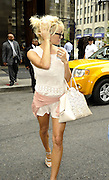 Sept. 9, 2014 - New York, New York, U.S. - <br /> <br /> Pamela Anderson Out In New York<br /> <br /> Actress PAMELA ANDERSON wears a very short summer dress and heels as she leaves a downtown hotel. <br /> ©Exclusivepix