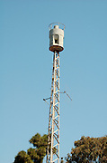 """Air raid siren in the center of Tel Aviv, Israel originally produced in Germanyby """"H?rmann GmbH M?nchen"""" between 1968 and 1975,"""