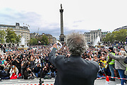 Pierce Corbyn addresses the crowd of protestors during a 'We Do Not Consent' rally at Trafalgar Square, organised by Stop New Normal, to protest against coronavirus restrictions, in London on Saturday, Sept. 26, 2020. (VXP Photo/ Vudi Xhymshiti)