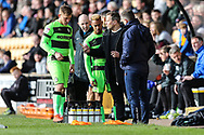 Forest Green Rovers manager, Mark Cooper gives out instructions during the EFL Sky Bet League 2 match between Port Vale and Forest Green Rovers at Vale Park, Burslem, England on 23 March 2019.