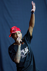 Pharrell Williams, of NERD, on stage suporting the Red Hot Chilli Peppers at Murrayfield, Edinburgh, SCOTLAND, 13/6/2004..