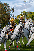 Members of the Portuguese National Guard's mounted brass band take part in the ceremony of Changing the Guard at the Belem palace in Lisbon, Portugal