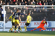 Burton Albion goalkeeper Bradley Collins (40) makes an early save during the EFL Sky Bet League 1 match between Burton Albion and Oxford United at the Pirelli Stadium, Burton upon Trent, England on 2 February 2019.