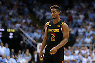 01 December 2015: Maryland's Melo Trimble. The University of North Carolina Tar Heels hosted the University of Maryland Terrapins at the Dean E. Smith Center in Chapel Hill, North Carolina in a 2015-16 NCAA Division I Men's Basketball game. UNC won the game 89-81.