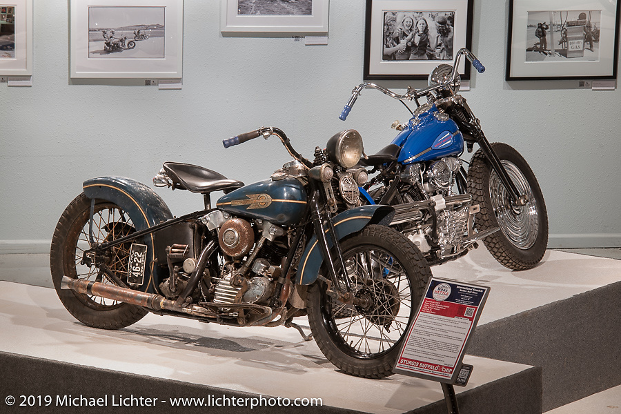 Matt Olsen's Busted & Broke, as he calls it, 1938 67-ci Knucklehead he built for the More Mettle - Motorcycles and Art That Never Quit exhibition in the Buffalo Chip Events Center Gallery during the Sturgis Motorcycle Rally. SD, USA. Thursday, August 12, 2021. Photography ©2021 Michael Lichter.