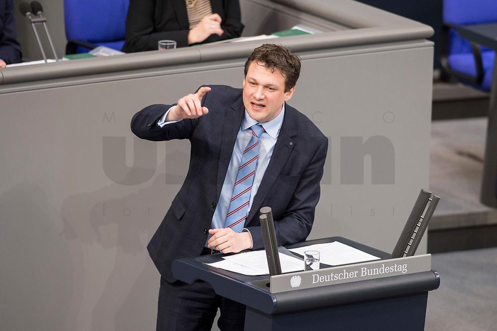 24 MAR 2017, BERLIN/GERMANY:<br /> Tobias Zech, MdB, CSU, waehrend der Bundestagesdebatte zur Befristung von Arbeitsvertraegen ohne Sachgrund, Plenum, Deutscher Bundestag<br /> IMAGE: 20170324-01-004