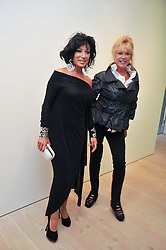 Left to right, NANCY DELL'OLIO and PATTI BOYD at an exhibition of photographic portraits by Bryan Adams entitled 'Hear The World' at The Saatchi Gallery, King's Road, London on 21st July 2009.