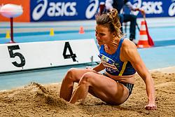 Lianne van Krieken in action on the high jump during AA Drink Dutch Athletics Championship Indoor on 20 February 2021 in Apeldoorn.