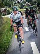 Bernard Hinault coach des cyclistes du team SKODA  amateur  pour participer a l'étape du tour quelques jours avant le tours de France 2017<br /> Sur la route en direction du Col du Lautaret